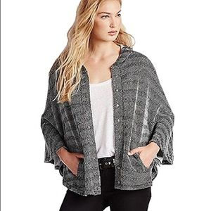 Lucky Brand Textured Hooded Poncho Sweater XS